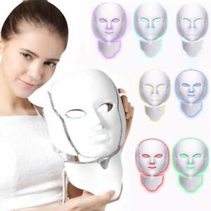 7 Color LED Light Photon Face Mask Neck Rejuvenation Skin Facial Therapy Masks U