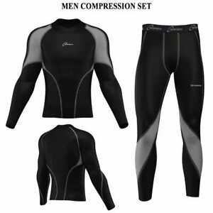 Mens Compression Body Armour Base layer Top Skin Fit Shirt + Leggings + set 3S