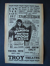 1950s SPOOK SHOW Flyer FRANCISCO MID-NITE SPOOK FROLIC TROY THEATRE NY DRACULA