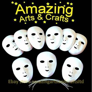 Fancy Dress Face Masks to Paint and Decorate 9 pack Flock Finish Halloween