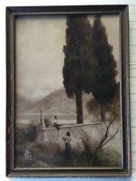 "Antique Mezzotint Print, Colored, Framed, 12"" x 18"" (Image), 14"" x 19 1/2"" Frame"