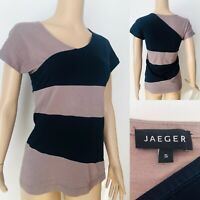 Womens JAEGER Summer Top T-shirt Size S UK 10-12 Black Cotton