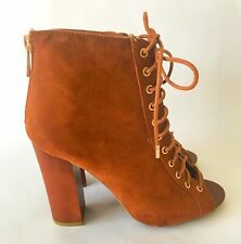 Bamboo Open Toe Lace-Up Ankle Booties Heels Embark Size 6.5 Brand New