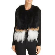 525 America Womens Black Raccoon Fur Colorblock Night Out Vest XS BHFO 7671