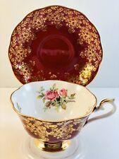 Royal Albert Bone China Tea Cup and Saucer Royal Red floral gold trim and Roses
