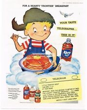 1955 Karo Pancake Waffle Syrup Boy Eating cartoon Illustration art Vtg Print Ad