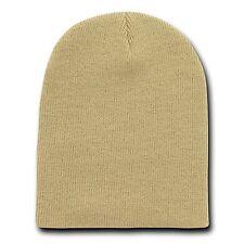 Khaki Tan 8 Inch Short Knit Beanie Winter Ski Cap Caps Hat Hats Toque Toques