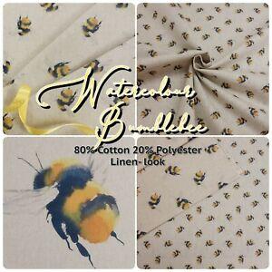 Watercolour Bee Bumblebee on Linen Colour Linen-Look Cotton-Rich Craft Fabric