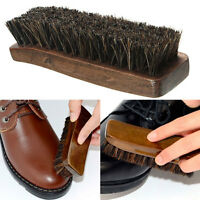 New Practical Horse Hair Shoe Brush Shine Polish Buffing Brush Wooden Brown best