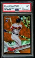2017 Topps Chrome Andrew Benintendi Orange Refractor PSA 9 Mint White Jersey