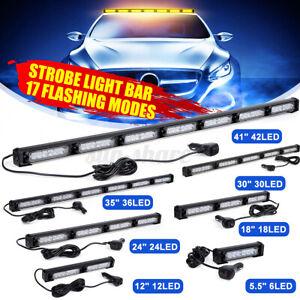 LED Amber Yellow Traffic Advisor Emergency Hazard Warning Flash Strobe Light Bar