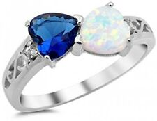 Heart Simulated Sapphire And Lab Created White Opal .925 Sterling Silver Ring 6
