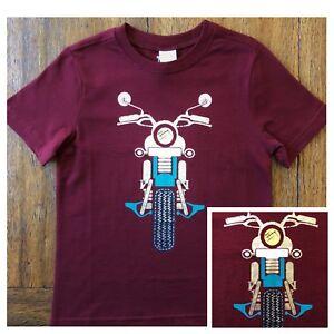 Gymboree Metallic Moto Tee Shirt 2T Burgundy Red Maroon Motorcycle Boys