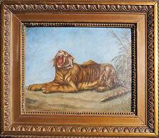 Tableau HST étude de Tigre Royal baillant Ménagerie Zoo Cirque signé L. Cabanier