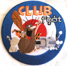 Club Foot embroidered patch, injured scooter rider, scooterists, mods, iron on