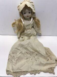 """Vintage Porcelain Doll with Beige Brown Dress Blonde Wigged Hair Walda 16"""""""