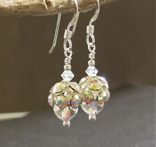 CRYSTAL EARRINGS STERLING SILVER DAINTY Bridal Vintage Beaded New Handmade USA