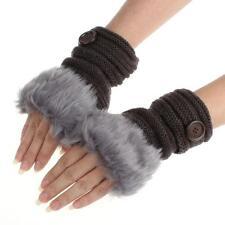 Women Winter Warm luxury Wool Faux Rabbit Fur Wrist Fingerless Gloves Mittens*