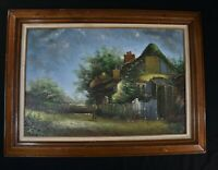 ROBERT BAILLIE VINTAGE ORIGINAL OIL PAINTING VILLAGE LANDSCAPE WOOD FRAME 32''x4