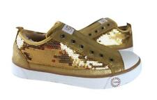 New NIB Ugg Laela Sparkles Sequined & Leather Sparkly Sneakers Gold  RARE!