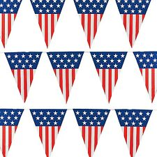 Extra Large American Flag Pennant Banner 24feet/12 Flags- USA Patriotic July 4th
