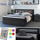 Design Boxspringbett LED Doppelbett Bett Hotelbett Ehebett 180x200 cm anthrazit günstig