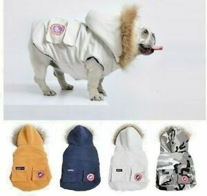 Bulldog Winter Clothes Dog Jacket Hoodies Down Windproof Coat Puppy Small Dogs
