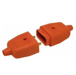2 PIN ORANGE RUBBER LAWNMOWER STRIMMER GARDEN PLUG SOCKET CONNECTOR 10A AMP