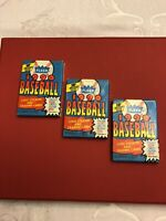 1990 Fleer Baseball Wax Pack Logo Stickers and Trading Cards - 3 unopened packs