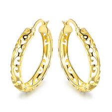 Gold Plated Filigree Cutout Hoop Earrings