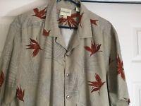 Men's Sz Large Silk Hawaiian Shirt Tan with Bird of Paradise Fern Pattern