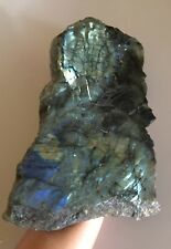 "Large Blue Labradorite Slab Polished from Madagascar 12 1/2"" 1.6kg"