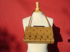 Adrienne Vettadini Genuine Leather Beige Small Camera Evening Handbag Bag Purse