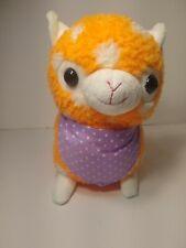 "Applause 12"" Cute and Cuddly orange White Polka Dot Alpaca Pink Bandana Plush"