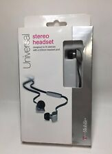 T-Mobile Stereo Headset, Tangle Free Cord - Flat Cable Headphones  Gray/Black