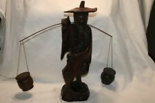Chinese Wooden Carved man w/fish & 2 buckets