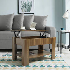 Lift up Top Coffee Table With Storage and Shelf Walnut Living Room