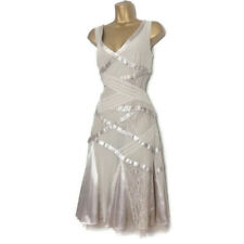 KAREN MILLEN Dress Size 14 Wedding Satin Lace Beige Flapper Oyster Gatsby 42 🌈
