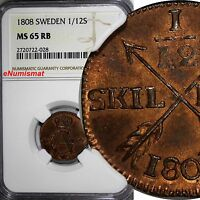 SWEDEN Gustaf IV Copper 1808 1/12 Skilling NGC MS65 RB TOP GRADED BY NGC KM# 563