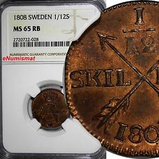 New listing Sweden Gustaf Iv Copper 1808 1/12 Skilling Ngc Ms65 Rb Top Graded By Ngc Km# 563