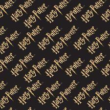 Harry Potter LOGO Black & Orange 100% Cotton Licenced fabric FAT QUARTER