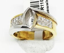 18K Two Toned Gold Semi Mount Bezel Cut Diamond Engagement Ring, Dia 0.63 CT