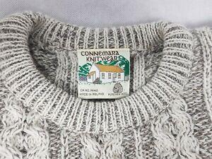 Vintage Connemara Grey Pure Wool Chunky Cable Knit Jumper 40-42 Chest Irish Aran
