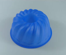 BLUE Bundt Tube Ring Silicone Bakeware Silicon Mould Cake Tin Jelly Baking