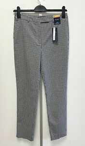 NEW! M&S Marks & Spencer UK10L black/white check The Mia ankle grazer trousers