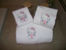 Embroidered Personalised Hello Kitty 3 Piece Embroidered Bath Towel Set