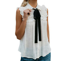 Women Casual Sleeveless Shirts With Tie Ruffled Turn-Down Collar Tank Top Blouse