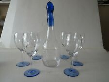More details for vintage etched grape wine decanter with set of six glasses