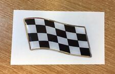 57mm WAVING CHEQUERED FLAG Sticker/Decal - CHROME/BLACK WITH DOMED GEL FINISH