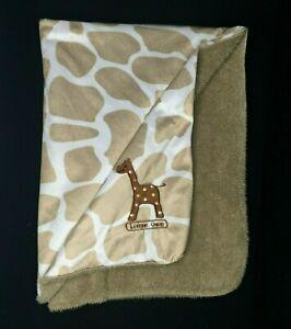 Giraffe Print Brown LITTLE ONE Baby Blanket Sherpa Velour Plush Animal Lovey Tan